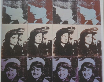 Sold!!!RARE HUGE VINTAGE Mid Century Modern Pop Art Litho of Jackie Kennedy by Follower of Andy Warhol