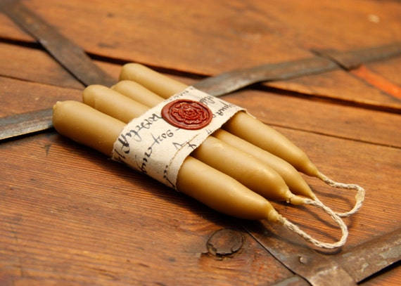 Natural beeswax hand-dipped candles with flax wick, 4pcs