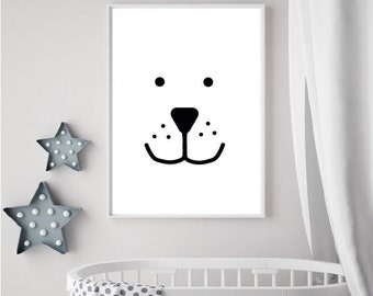 Bear in the Snow Nursery Wall Art