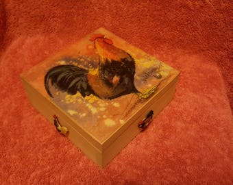 wooden gift box trinket jewellery box gifts for her hen chicken decoupage gems