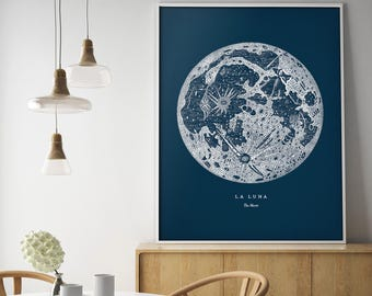 Full moon wall art, Moon poster, Full moon art print, Full moon poster, Full moon print, Moon wall art, Framed moon poster, Moon wall decor,