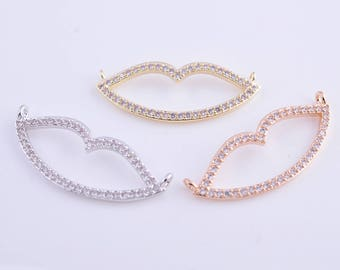 14k gold/rose gold/rhodium micro pave zircon lips charm/pendant for necklace and bracelet