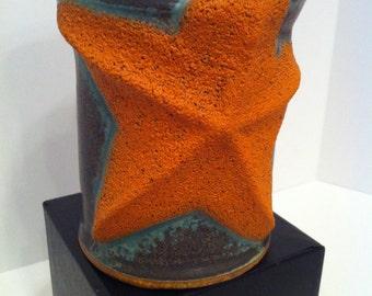 Orange Starfish Pottery Mug