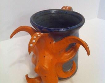 Orange Octopus Mug - Pottery