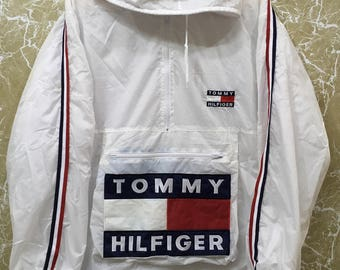 90s tommy hilfiger jacket spell out big logo white colour winbreaker. Black Bedroom Furniture Sets. Home Design Ideas
