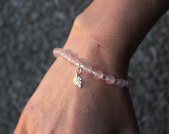Gentle Rose Quartz and silver bracelet