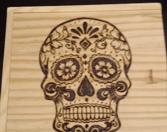 Sugar Skull pyrography checkers box,Woodburning
