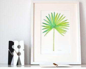 Fan Palm watercolor Original - Original Watercolor - Tropical Watercolor