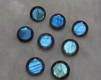 Lot of 10 pcs. natural blue flashy Labradorite round cut faceted loose gemstone with free shipping
