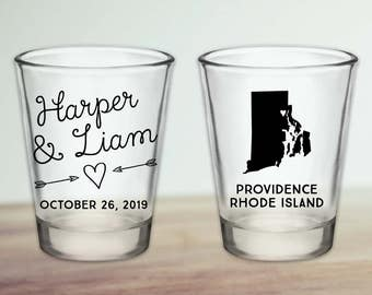 Custom Rhode Island Wedding Favor Shot Glasses