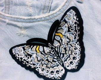 H/butterfly /black/free shipping iron on embroidery patch