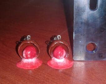 Chocolate Covered Cherry Polymer Clay Earrings