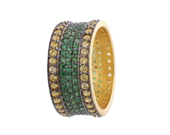 Pave Cigar Band - Cigar Band 3.90 Cts, Cigar band - Stack Micro Pave Ring - Gold Plated Over Silver. (R-00002))