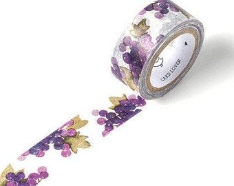 GRAPE Japanese Washi Tape, Masking Tape, Planner Stickers,Crafting Supplies,Scraping Booking,Adhesive Tape,Floral Washi Tape