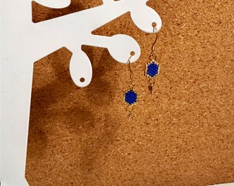 Dangling earrings hexagon. Brickstitch. Miyuki beads. Handmade