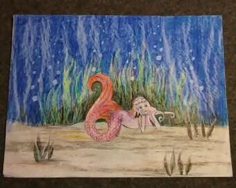 Bored Mermaid Illustration