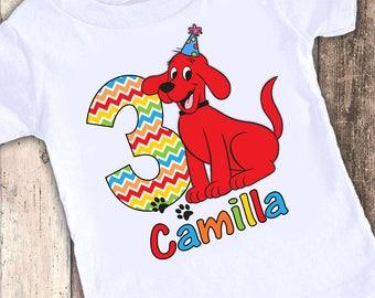 Clifford Big Red Dog Rainbow Chevron Inspired Party custom designed birthday t shirt tshirt personalized