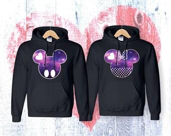 Mickey and Minnie Galaxy Mickey and Minnie galaxy couple   matching couple hoodies  hoodies Sweatshirt Couple  Hoodie High Quality