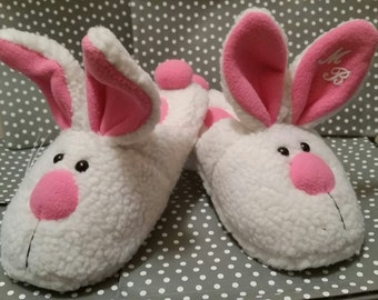 Bunny Slippers  -  Cute - Personalized - Monogrammed - Gifts - Bridesmaids - Adult - Womens