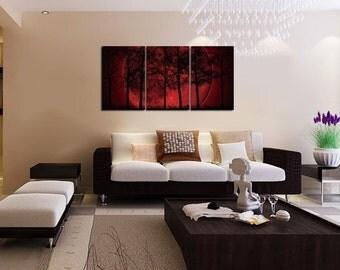 Big Red Moon - split canvas print