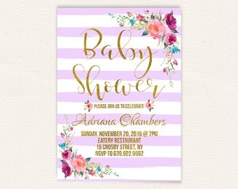 Gold and purple lavender stripes girl baby shower invitation, floral baby shower invitation, digital file printable its a girl invite 4a
