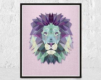 lion print, animal print, lion wall art, geometric animal, geometric print, nursery decor, safari decor, nursery print, nursery animal print