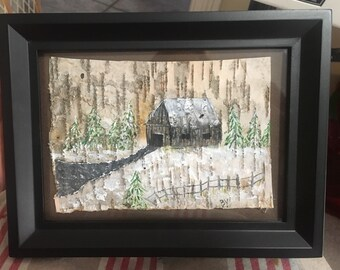 Maine - framed painting of Rustic Cabin in the Woods, painted on Birch Tree Bark - art