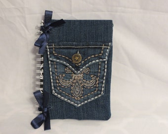 Upcycled Denim Journal with Removable Cover