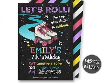 Roller Skating Invitation, Roller Skating Birthday Invitation, Roller Derby, Party, Invitation, Printables, Personalized, Digital, DIY