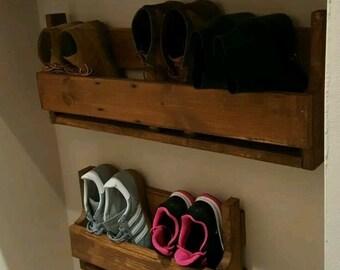 Unique shabby chic pallet wood floating shoe rack ideal storage