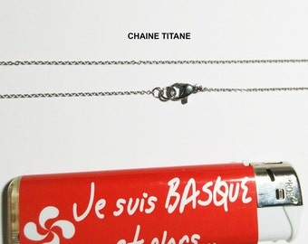 Necklace chain titanebasque 1.20 mm waterproof O extra fine for sensitive skin, add your own pendant