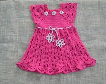 crochet lace dress, girls crochet dress, pink dress, toddler dress, crochet dress 2t