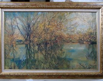 Forest landscape painting, Nature, original, Composition, Framed, Oil, Stretched canvas, 45/70 cm