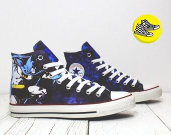 Batman denim custom painted hi top sneakers - bemalte converse