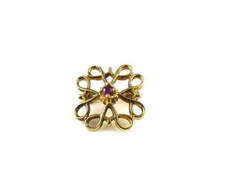 Vintage brooch from the 1960's, pink rhinestones, costume jewellery, vintage, gold and pink brooch, dainty brooch, tiny brooch.