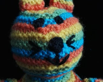 Rainbow cat knitted toy