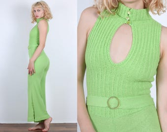 70s Knit Jumpsuit // Vintage Lime Green Keyhole Bell Bottom Onesie Disco Pantsuit - XS Small to Medium