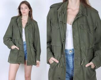 80s Army Jacket // Vintage Olive Drab Commando Green Coat US Army Jacket - Extra Small xs