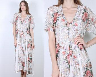 90s Sheer Lace Dress // Vintage Floral Grunge Maxi Dress V Neck - Small to Medium