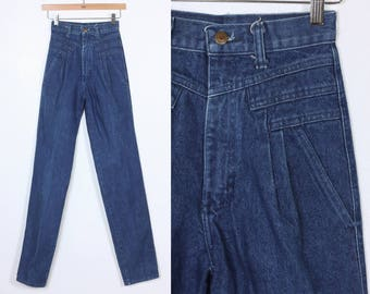 80s Wrangler Jeans // Vintage Denim Pants High Waisted Mom Jeans Tapered Leg - Extra Small XXS