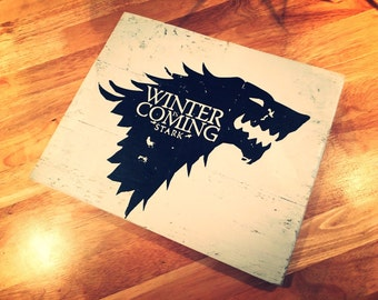 Game Of Thrones Hand Made Wooden 'Winter is coming' STARK sign