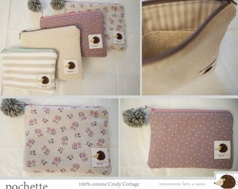 Fabric pouch with Zip and inside pockets-100% Handmade