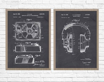 Music Patent Poster, STEREO HI FI, Turntable Patent, Headphones, Record Player, Music Poster, Vinyl Patent, Record Player Patent