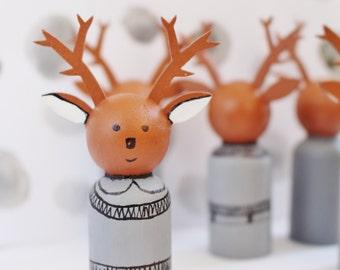 Peg doll deer, wooden toy, deer