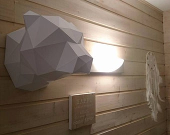 DIY Low Poly Papercraft Kit animal trophy bear head