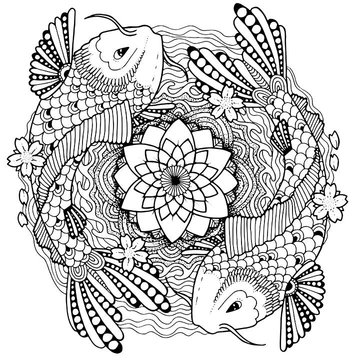 koi coloring pages | Koi coloring page for adults Tattoo adult coloring page Koi