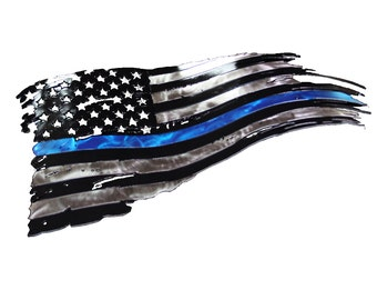 Tattered American flag, thin blue line flag, back the blue flag, LEO flag, Police flag, Law Enforcement Officers flag, Metal flag, blue flag