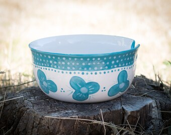 Turquoise and White Yarn Bowl