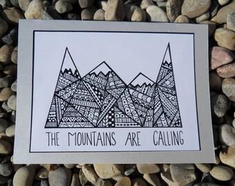 Handmade Custom Mountain Greeting Card