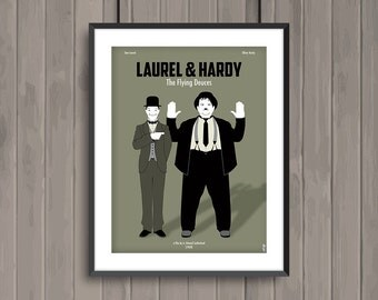 LAUREL & HARDY The Flying Deuces, minimalist movie poster